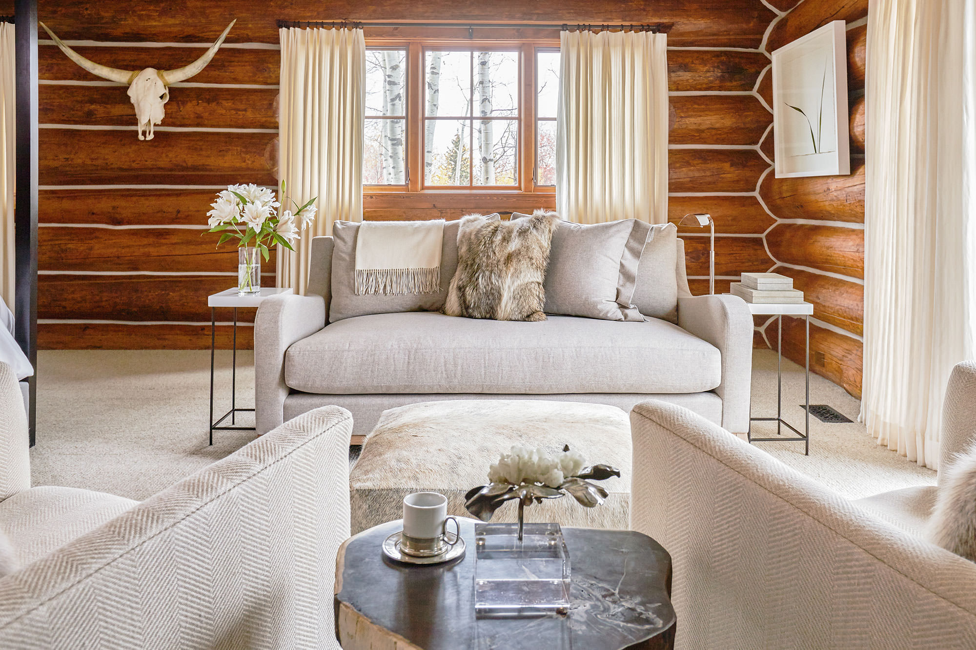 exciting log cabin cozy living rooms | A Cozy Log Cabin Living Room in Jackson Hole - The Clear ...