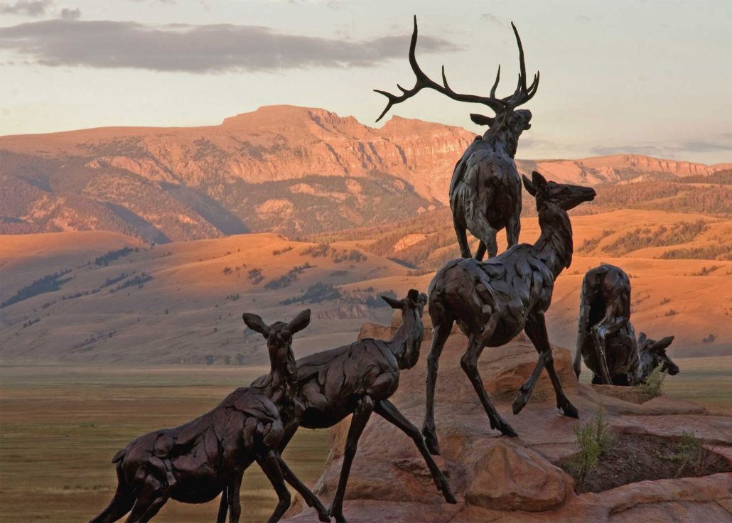 Bart Walter, Wapiti Trail—detail, modeled 2005, cast 2007. Anonymous gift, National Museum of Wildlife Art.