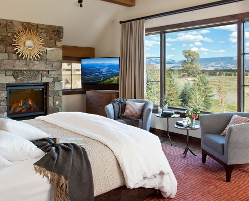 TCCGJH Fish Creek Lodge - Master Bedroom, windows with a beautiful view